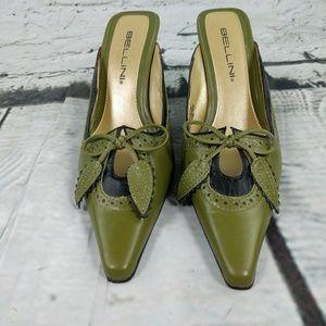 Bellini green leather heels size 7M